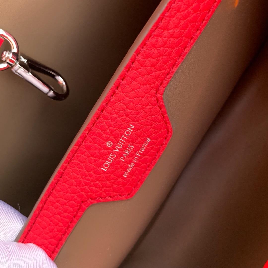Louis Vuitton Capucines Pm Top Handle Bag M52990 Red Gray