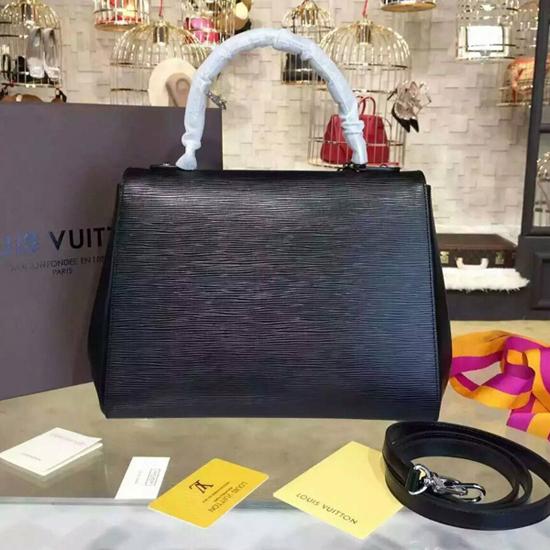 Auth Louis Vuitton Cluny MM Epi Leather Black Shoulder