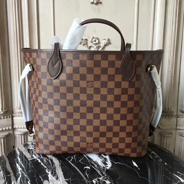 Louis Vuitton N41358 Neverfull MM Shoulder Bag Damier Ebene Canvas