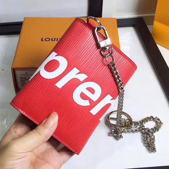 e338b57f65f Louis Vuitton x Supreme Chain Compact Wallet M67755 Epi Leather Red